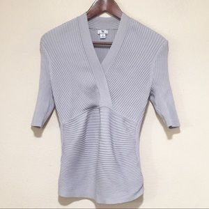 Worthington Gray Silk Blend V-Neck Top M